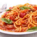 plate of spaghetti and tomato sauce
